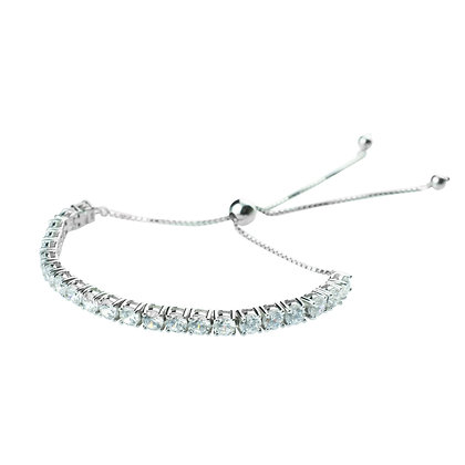 Sterling Silver Diamond Simulant Adjustable Bracelet