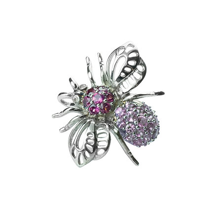 Sterling Silver Bee Pendant & Brooch with Rhodolite and Amethyst