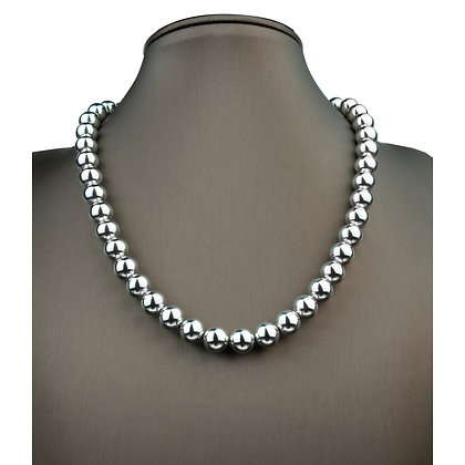 Sterling Silver Bead Necklace - 10 mm