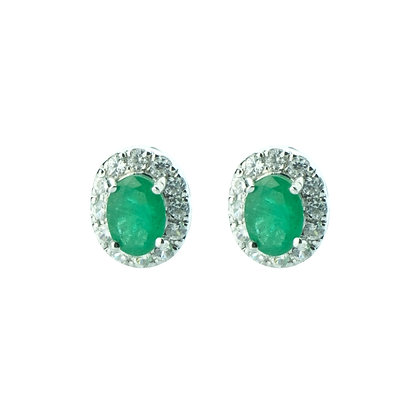 Sterling Silver Emerald with Natural Zircon Halo Earrings