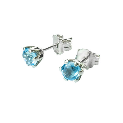 Sterling Silver Round Blue Topaz Earrings- 5 MM