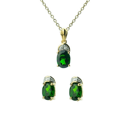 Sterling Silver Chrome Diopside with Diamond Earrings and Pendant
