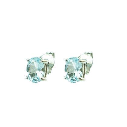 Sterling Silver Oval Aquamarine Earrings - 6x4 MM