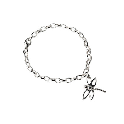 Sterling Silver Bracelet with Dragonfly Charm