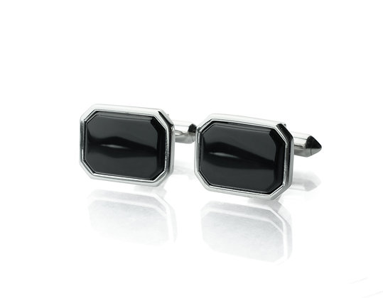 Sterling Silver Black Onyx Cufflinks