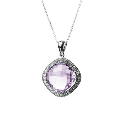 Sterling Silver Amethyst Pendant with Natural White Zircon
