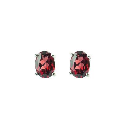 Sterling Silver Oval Garnet Earrings- 7x5 MM