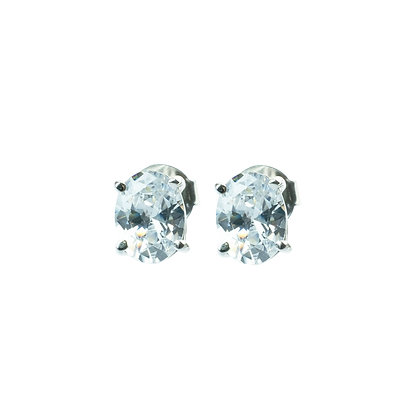 Sterling Silver Diamond Simulant CZ Earrings - Oval S