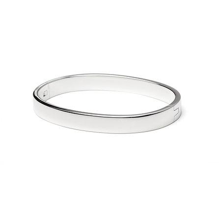 Sterling Silver Hinge Bangle - Unisex 8mm Oval