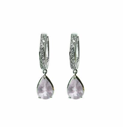 Sterling Silver Rose Quartz and White Topaz Dangle Earrings