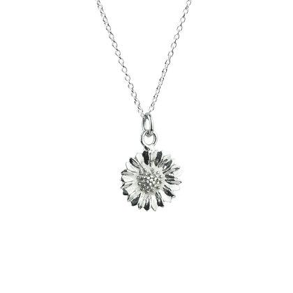 Sterling Silver Sunflower Pendant - Rhodium