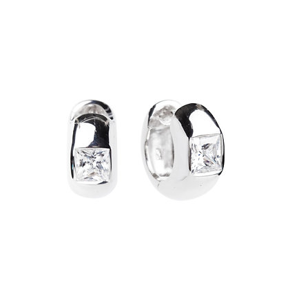 Sterling Silver Diamond Simulant Huggie Earrings