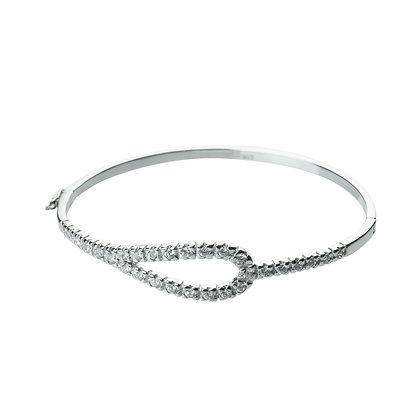 Sterling Silver Diamond Simulant Hinge Bangle