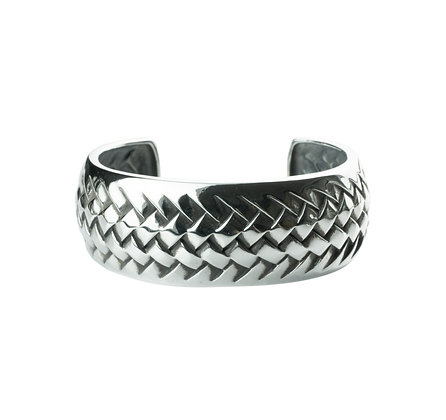 Sterling Silver Woven Pattern Bangle