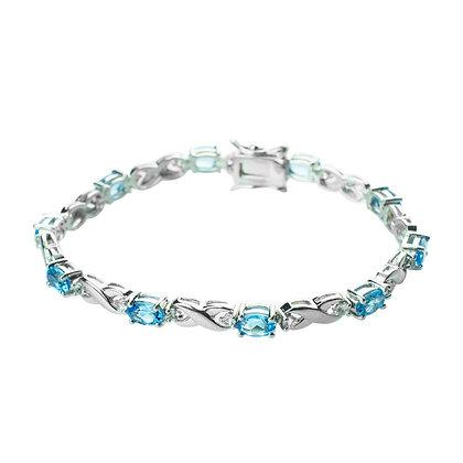 Sterling Silver Swiss Blue Topaz Infinity Bracelet