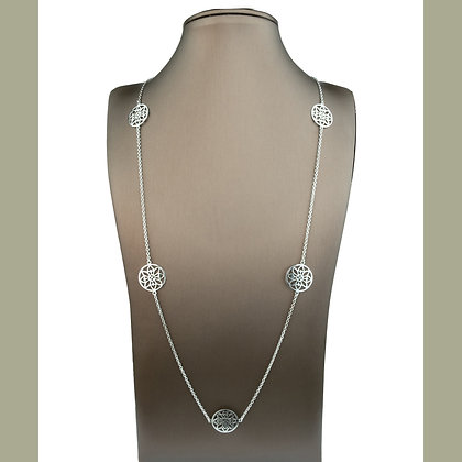 Sterling Silver Mandala Station Necklace