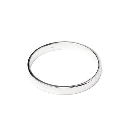 Sterling Silver Hinge Bangle - Unisex 8 mm Round