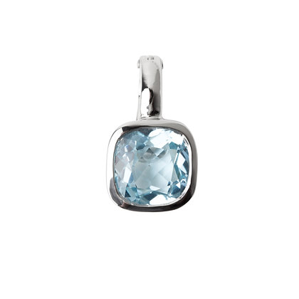 Sterling Silver Sky Blue Topaz Pendant/Enhancer in Checkerboard Cut
