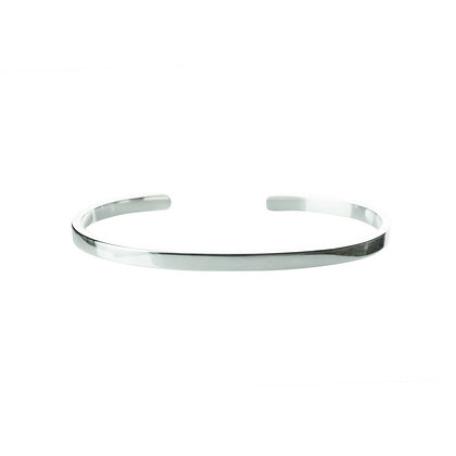 Sterling Silver Cuff Bangle - Thin 4 mm