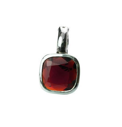 Sterling Silver Garnet Pendant/Enhancer