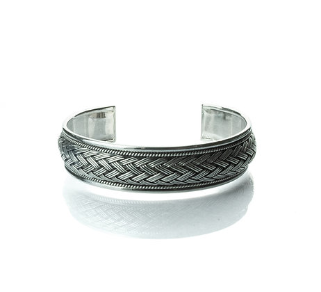 Sterling Silver Woven Bangle - Thai Northern Style