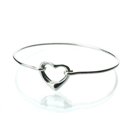 Sterling Silver Open Heart Bangle