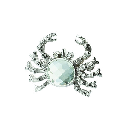 Sterling Silver Prasiolite Brooch