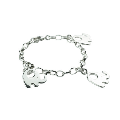 Sterling Silver Bracelet with Elephant Charms