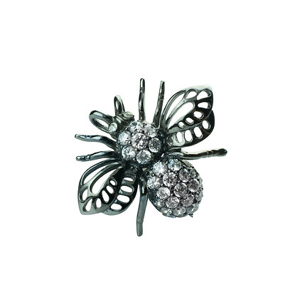 Sterling Silver Bee Pendant & Brooch with Diamond Simulant (Cubic Zi