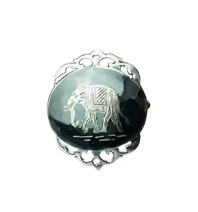 Sterling Silver Elephant Brooch - Nielloware