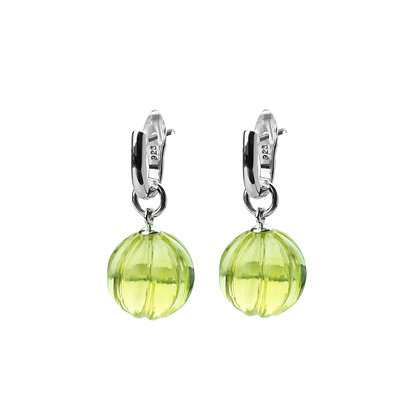 Sterling Silver Detachable Lemon Quartz Dangle Earrings