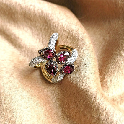 Rhodolite Garnet 18K Gold Over Sterling Silver Ring