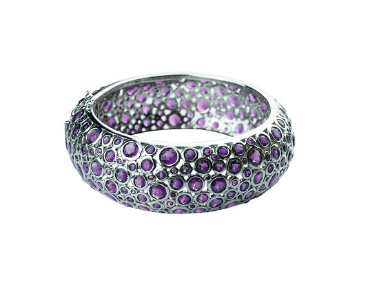 Sterling Silver African Amethyst Bangle