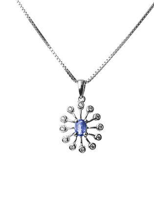 Sterling Silver Natural Blue Sapphire with Diamond Simulant Pendant