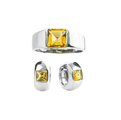 Sterling Silver Citrine Ring and Earrings
