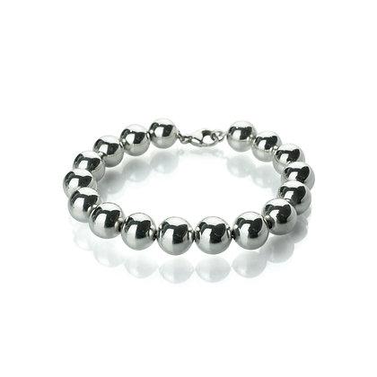 Sterling Silver Bead Bracelet - 10 mm
