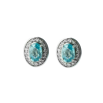 Sterling Silver Natural Blue Zircon with Natural White Zircon Halo Earrings