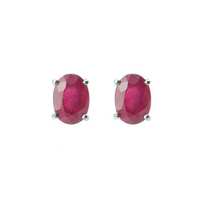 Sterling Silver Oval Ruby Earrings- 7x5 MM