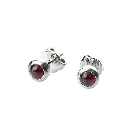 Sterling Silver Bezel Set Cabochon Ruby Earrings