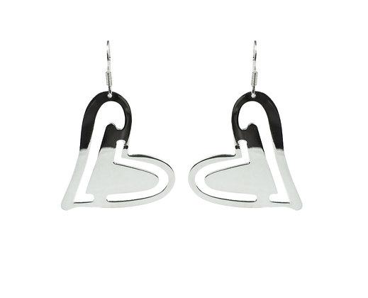 Sterling Silver Flat Heart Earrings
