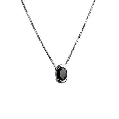 Sterling Silver Black Diamond Simulant Pendant