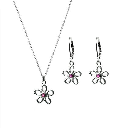 Sterling Silver Ruby Earrings and Pendant