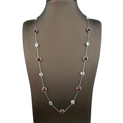 Sterling Silver Gemstone CZ Station Necklace