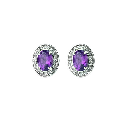 Sterling Silver Amethyst with White Topaz Halo Earrings