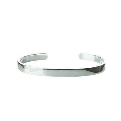 Sterling Silver Cuff Bangle - Unisex Thin 6 mm