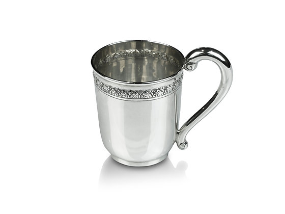 Sterling Silver Baby Cup with Lotus Design