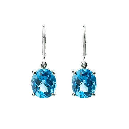 Sterling Silver Swiss Blue Topaz Dangle Earrings