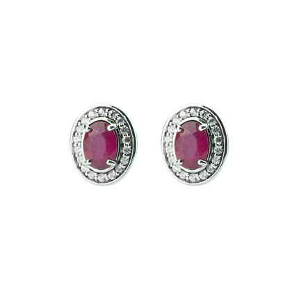 Sterling Silver Ruby with Natural White Zircon Halo Earrings