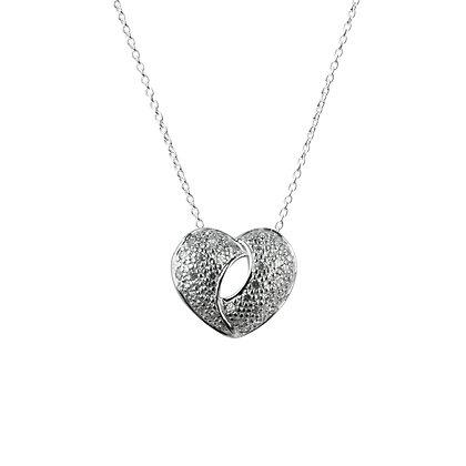 Sterling Silver Diamond Simulants Heart Pendant