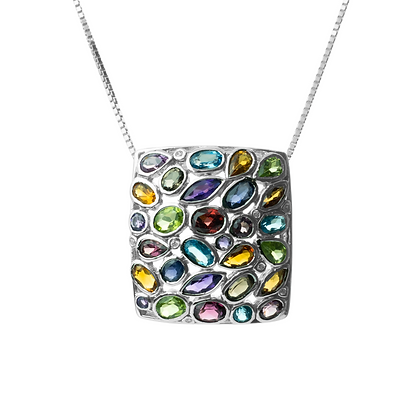 Sterling Silver Multicolored Gemstones Pendant